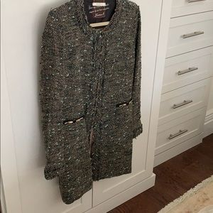 Tweed mid length jacket. Made in Italy.